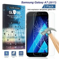 [2-Pack] Samsung Galaxy A7 2017 Tempered Glass Screen Protector, Pacific Asiana HD Crystal Clear Ultra Thin [9H Hardness] [Scratch Proof] Glass Pro...