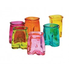 Palais Glassware® 'Pantalon' Shot Glass Set, 1.5 Ounce - Set of 6 - Pants up Party Shot Glasses (Full Colored)