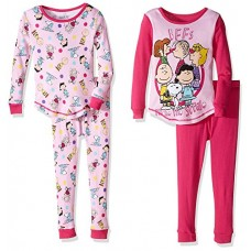 Peanuts Little Girls' Toddler 4-Piece Cotton Sleepwear Set, Pink, 3T