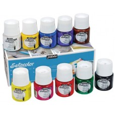 Pebeo Setacolor Opaque Fabric Paint Set, Cardboard Box of 10 Assorted 45-Milliliter Jars