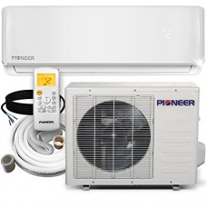 Pioneer WYS012-17 Air Conditioner Inverter+ Ductless Wall Mount Mini Split System Air Conditioner & Heat Pump Full Set, 12000 BTU 115V