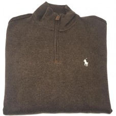 Polo Ralph Lauren Men's Half Zip French Rib Cotton Sweater (Brown Mu, XL)