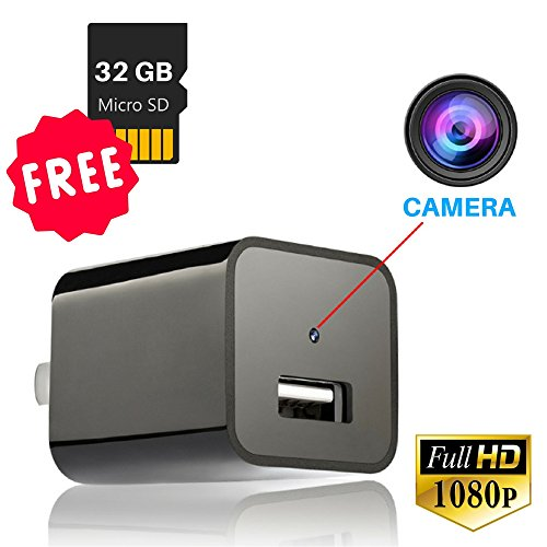 Surveillance Camera 1080p Mini spy Camera Charger with 32G SD Card