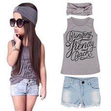 PPBUY 1Set Kid Baby Girls Vest Top + Jeans Shorts + Scarf Suit Outfit (6/7T, Gray)