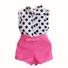 PPBUY Girl Polka Dot T-shirt Tops + Pink Bowknot Shorts 1Set (7/8T, Pink)
