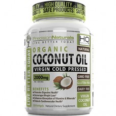 Organic Coconut Oil Capsules / Pills 2000mg/Serving Virgin Cold Pressed Non GMO for Weight Loss, Extra Hair Growth and Healthy Skin. Unrefined Pure...