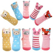 Toddler Girls Non-skid Socks with Grips Cute Cartoon Animal Ankle Socks for 12-36 Months Infant Gift ,Pack of 5