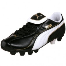 PUMA Little Kid/Big Kid Esito XL R HG Jr (Sta) Soccer Cleat,Black/White/Gold,1.5 M US Little Kid