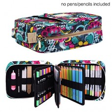 Pencil Case Holder Slot -Holds 202 Colored Pencils or 136 Gel Pens with Zipper Closure - Large Capacity Pen Organizer for Watercolor Pens & Marker...