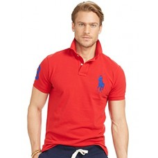 Polo Ralph Lauren Custom Fit Mesh Big Pony Polo Shirt RL2000, Red (Large)