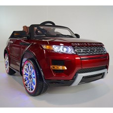 Ride on car MP4 LAND ROVER power wheels Range Rover red for children electric car jeep. OPENING DOORS! 12V BATTERY TOTAL! Leather seat! Girl and Bo...