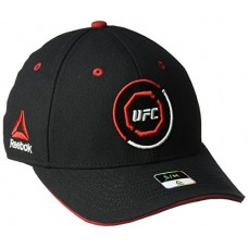 UFC Adult Unisex Curved Visor Flex Hat, Large/X-Large, Black/Red