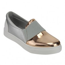 Refresh IE21 Women's Fabric Metallic Slide In Fashion Platform Sneakers, Color:ROSE GOLD, Size:8