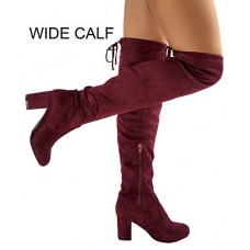 RF ROOM OF FASHION Chateau-22 Women's Thigh High Over The Knee Block Chunky Heel Pointy Round Toe Boots Burgundy-Wide Calf (7)