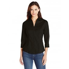 Riders by Lee Indigo Women's Bella 3/4 Sleeve Woven Shirt, Black Soot, Large