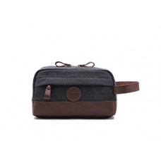 Vintage Toiletry Bag Dopp Kit - Genuine Leather And Durable 16 oz Canvas Handmade By Rugged Hombre Supply Co. Austin, TX (Charcoal Grey)