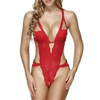 Ruzishun Sexy Lace Teddy Lingerie For Women Babydoll(Red,M)