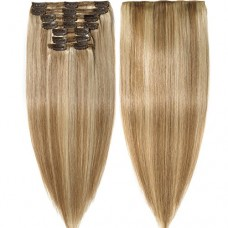 s-noilite Clip in Human Hair Extensions 100% Real Remy Thick True Double Weft Full Head 8 Pieces 18 clips Straight silky (14 inch - 120g,Ash Blonde...