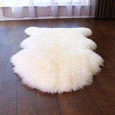 Faux Fur Sheepskin Rug Careu Soft Chair Cover Throw Rug for Lounge Bed Floor Bathroom,White (2.5ft×4ft)