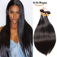 SEXAY Brazilian Straight Virgin Hair Bundles 14 16 18 inch Grade 8A 100% Unprocessed Human Hair Weave 3 Bundles Remy Real Human Hair Extensions for...