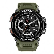 Stylish Outdoor Watches Military Multifunctional Military Wrist Watches Green Rubber Strap