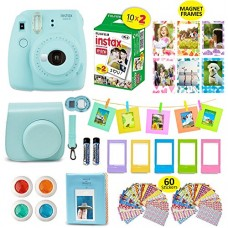 Fujifilm Instax Mini 9 ICE BLUE Camera + 20 Instant Film Twin Pack, + Instax Case + 14 PC Instax Accessories Bundle Kit. Includes; Albums, 4 Color ...