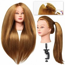 "SILKY #27 Mannequin Head with Human Hair Brown 28"" Professional Bride Hairdressing Cosmetology Doll Head Training Head Free Stand holder"