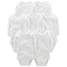 Simple Joys by Carter's Baby 7-Pack Long-Sleeve Bodysuit, White, 3-6 Months