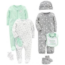 Simple Joys by Carter's Baby 8-Piece Footed Take Me Home Set, Gray, 6-9 Months