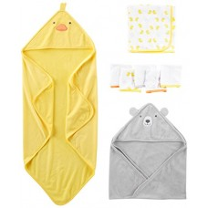 Simple Joys by Carter's Baby 8-Piece Towel and Washcloth Set, Yellow/Grey, One Size