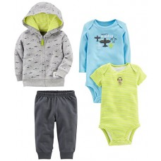 Simple Joys by Carter's Baby Boys' 4-Piece Little Jacket Set, Gray Airplane, 12 Months