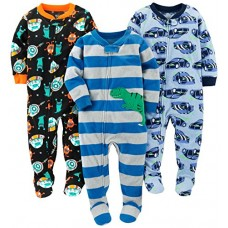 Simple Joys by Carter's Baby Boys' Toddler 3-Pack Flame Resistant Fleece Footed Pajamas, Racer Cars/Space/Dino, 2T