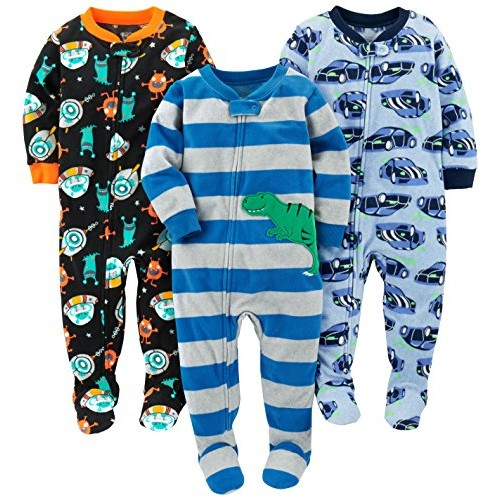 Simple Joys by Carters 3-Pack Loose Fit Flame Resistant Fleece Footed Pajamas B/éb/é Fille