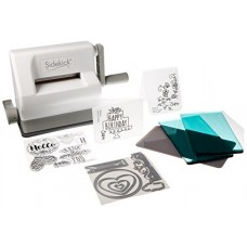 Sizzix Sidekick Starter Kit - White and Gray with Aqua Cutting Plates, Embossing Pad, Embossing Folders, Dies and Stamps - Item 661770