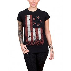 Skid Row T Shirt Stars And Stripes Band Logo Official Womens Black Junior Fit