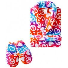 Sleep & Co Little Girls' Ombre hearts Peace Robe With Slippers Set, Multi, 2T
