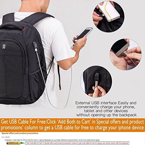 Sosoon Business Bags with USB Charging Port Anti-Theft Water Laptop Backpack