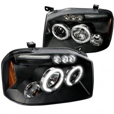 Spec-D Tuning 2LHP-FRO01JM-TM Nissan Frontier Dual Halo Led Black Projector Head Lights Lamps Pair