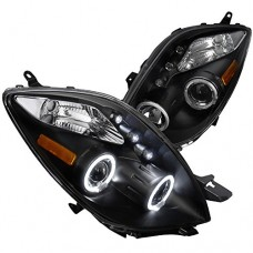 Spec-D Tuning 2LHP-YAR063JM-TM Toyota Yaris 3 Door Hatchback Black Halo Led Projector Headlights