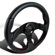 Spec-D Tuning SW-106RS 320MM Black Leather Red Stitch Sport Racing Steering Wheel