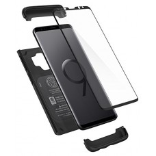Spigen Thin Fit 360 Galaxy S9 Case with Exact Slim Full Protection with Tempered Glass Screen Protector for Samsung Galaxy S9 (2018) - Black