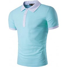 Sportides Men's Casual Short Sleeve Polo Shirt T_Shirt Tops JZA034 LightBlue XL