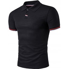 Sportides Mens Polo Shirts Contrast Collar Golf Tennis Short Sleeve Shirt Tops JZA035 Black M