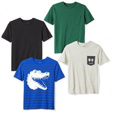 Spotted Zebra Boys' 4-Pack Short Sleeve T-Shirts, Chompers, XS