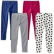 Spotted Zebra Little Girls' 4-Pack Leggings, Meow, XS