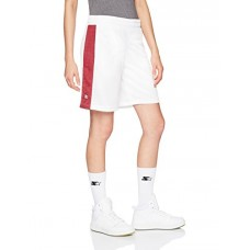 "Starter Women's 10"" Mesh Basketball Short With Stripe, Prime Exclusive, White With Team Maroon, S"