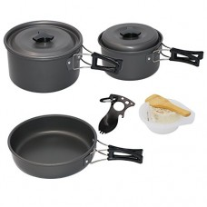 Startostar 13-Piece Camping Cookware Mess Kit with Anodized Aluminum Pots and Pans Set, Spork, Mesh Bag, Canister Stand Tripod and Box