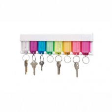 STEELMASTER 8-Tag Multi-Colored Key Rack, 12 x 6.2 x 0.7 Inches, White (201400847)
