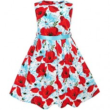 KJ64 Girls Dress Red Flower Belt Summer Beach Dress Size 7-8