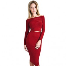 Sunward Women's Off Shoulder Long Sleeve Crop Top Midi Skirt Outfit Two Piece Bodycon Bandage Dress (S, Red)